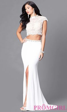 Long Two Piece Prom Lace Bodice Cap Sleeve Dress