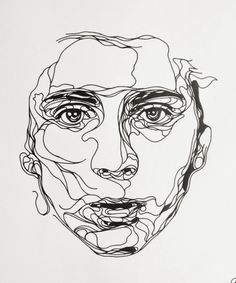 Ink drawing, by Kris Trappeniers. a continuous line drawing of a portrait Art Inspo, Kunst Inspo, Inspiration Art, Art And Illustration, Portrait Illustration, Design Illustrations, Kris Trappeniers, Draw Realistic, Contour Line Drawing