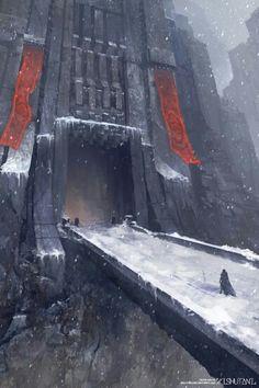 58 New Ideas for fantasy landscape illustration gates Fantasy City, Fantasy Castle, 3d Fantasy, Fantasy Kunst, Fantasy Places, Fantasy Setting, Fantasy Landscape, Medieval Fantasy, Fantasy World