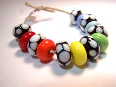 Black and White and Rainbow  Handmade Lampwork Beads by VedasBeads, $20.00