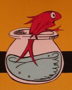 poster, cat in the hat, fish, Dr. Seuss, DIY