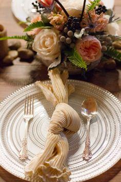 tied napkin, photo by Page Photography http://ruffledblog.com/1st-portland-notwedding #weddingideas #placesetting