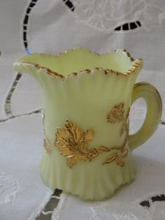 Antique Pale Yellow Vaseline Glass Cream Pitcher with Gold Flowers Rare Estate