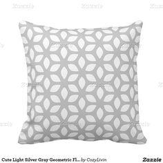 Cute Light Silver Gray Geometric Floral Pattern Pillow