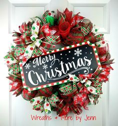 Christmas Deco Mesh Wreath Merry Christmas by WreathsandmorebyJenn