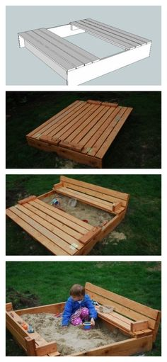 The Best DIY Wood & Pallet Ideas - everything from home decor, garden, storage, patio furniture, and outdoor easy to make ideas!  DIY Wood Bench Sand Box for Kids!
