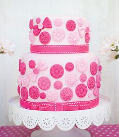 Vintage & Girly Cute as a Button Birthday Party: The Cake