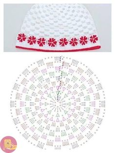New crochet baby bonnet diagram hat patterns Ideas Crochet Baby Bonnet, Crochet Cap, Crochet Diagram, Crochet Beanie, Love Crochet, Crochet Motif, Crochet For Kids, Crochet Flowers, Crochet Stitches