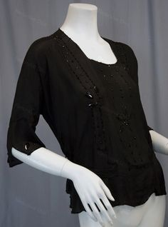 Vintage Flapper shirt in black silk with Art Deco glass beaded flower pattern circa 1920s from Recursive Chic @ RecursiveChic.com