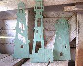 3 Lighthouses, wood wall art, beach decor, nautical, cottage, coastal, distressed, shabby chic