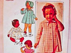 1970s Girls Dress Pattern with Coat and Hat Toddler size 3 UNCUT Vintage Pattern Toddler Dress Coat and Hat by PatternsFromThePast
