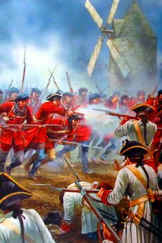 British infantry charging against the French in Quebec, Seven Years War