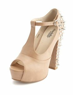 Spiked T-Strap Chunky Heel Sandal: Charlotte Russe