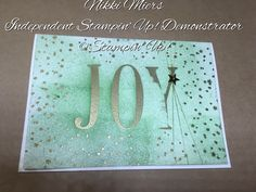 Stampin' Up! Created by Nikki Miers....... Letters for you (large letters) and Holly Jolly Greetings. Embossed then sponge brayered.