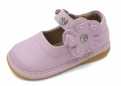 Squeaky Shoes | Light Pink w/ Flower Toddler Girl Mary Janes