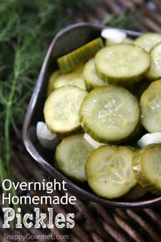 Overnight Homemade Pickles Recipe - an easy refrigerator pickle recipe that is ready the next day and no canning necessary. Full of dill, onion, and garlic! | http://SnappyGourmet.com