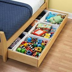This is too cool. Saves space and keeps things organized. Kids shove things under their beds when they clean, anyway... May as well help them keep it organized! (; Lol.