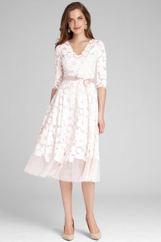 ¾ Sleeve Lace and Tulle Fit and Flare Dress Mob Dresses, Dressy Dresses, Petite Dresses, Lace Tea Length Dress, Tea Length Dresses, Tea Length Cocktail Dresses, Petite Cocktail Dresses, Cocktail Dresses With Sleeves, Mother Of Groom Dresses