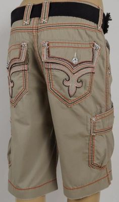 6163ddad71 Details about Men's Cargo Shorts with Belt Focus 32 34 36 38 40 42 44  Casual Short Black Red