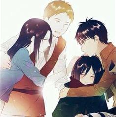 Mikasa's parents, Mikasa, and Eren