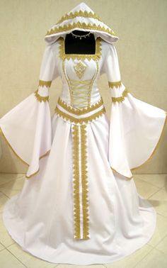 MEDIEVAL DRESS GOLD WEDDING COSTUME GOTH 16-18-20 L-XL-XXL LARP WHITE X-MAS ROBE