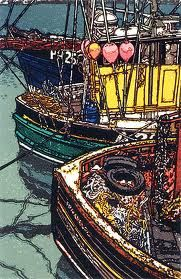 Floats, Ropes and Reflections h j jackson Reflection Art, Boat Painting, Print Artist, Fishing Boats, Pattern Art, Artwork Prints, Printmaking, Screen Printing, Watercolor Paintings