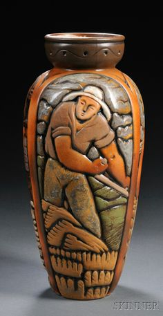 20TH CENTURY DESIGN - SALE 2626B - LOT 217 - , MOUGIN BROTHERS ART DECO VASE, ART POTTERY, RAISED RIM ON BALUSTER FORM DECORATED IN RELIEF WITH THREE PANELS DEPICTING A MAN SOWING, - Skinner Inc