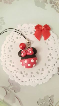 annù creations facebook fimo disney minnie red rosso pois phone strap