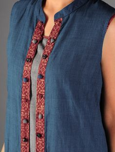 Buy Blue - Red Ajrakh Detailed Cotton Sleeveless Long Jacket By Jaypore Online at Jaypore.com