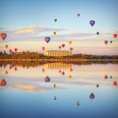 Balloons over Canberra, Australia. (probably the only thing you'd want to see in Canberra) Australia Capital, Visit Australia, Australia Travel, Sydney Australia, Western Australia, The Places Youll Go, Places To Go, Beautiful World, Beautiful Places