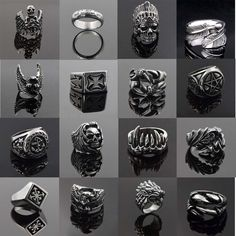 Vintage Fashion Punk Ring Gothic Biker Ring Various Styles Rock Ring Mars-US