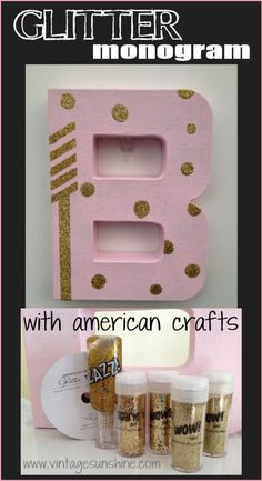 Glitter monogram letter Glitter Projects, Glitter Crafts, Glitter Glue, Sparkles Glitter, Glitter Room, American Crafts, Monogram Letters, Pink, Girly