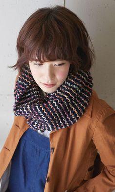 作品♪214a-12イギリスゴム編みのスヌード