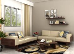 Buy this Azlin Wooden Sofa 3+2 set to add style and comfort with a #modern touch to your #living #room. The #fabric upholstery and seat provide you with a very #comfortable seating option. Its frame is crafted from top quality Sheesham wood and furnished with the walnut finish which complements the look of this #sofa set.