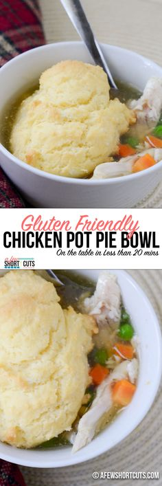 Need a fast gluten friendly dinner to get on the table during the week? Get this Gluten Friendly Chicken Pot Pie Bowl Recipe! The whole family will love it!