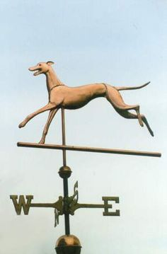 "Whippet Dog, Bounding by West Coast Weather Vanes. All our dog weathervanes can be made with an optional collar. We can actually inscribe your dog's name on the collar in either 1/4"" or 1/8"" tall stamped letters or we can add a tag in the shape of a dog bone, a heart or a circle."