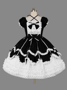 Vêtements bien rendu noir et blanc Gothique Lolita robe Lolita