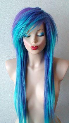 Scene wig. Emo hair Teal/ Purple wig. Long straight by kekeshop