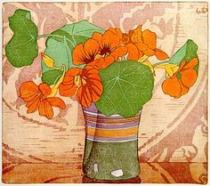 Walter J. Phillips (Canadian, 1884-1963). Nasturtiums. 1928. Colour woodcut on paper.