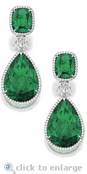 Ziamond Cubic Zirconia Pear & Cushion Cut CZ Drop Earrings 14K White Gold.  The Crowne Drop Earrings feature a 12 carat pear that suspends from a 4 carat cushion cut emerald for approximately 36 carats in total carat weight for the pair.  $3195 #ziamond #cubiczirconia #cz #diamond #emerald #cushioncut #pear #14kgold #earrings #drops #jewelry