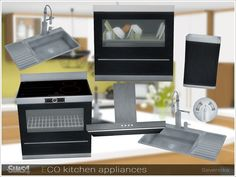 A set of household appliances and electronics for the kitchen.  Found in TSR Category 'Sims 4 Kitchen Sets'