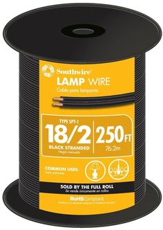 Southwire 250 Ft. 18 Gauge 18/2 Black Copper Stranded CU SPT-1 Lamp Wire Roll #Southwire