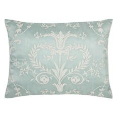 """""""Josette"""" cushion in duck egg turquoise blue with white damask from Laura Ashley."""