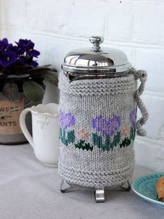 French Press Coffee Tea Pot Cozy Warmer with Hand Embroidered Flowers Gift Mom Sister Wife Gift Cozy Cover French Press Available 1 litre by LovekaKnitting on Etsy