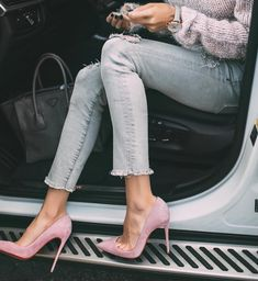 Sweet outfit, Christian Louboutin Pink So Kate Pumps, denim, sweater