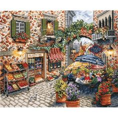 Sidewalk Cafe Counted Cross Stitch Kit - Cross Stitch Kits I Love Cross Stitch