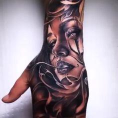 Woman & Filigree - Black & Grey Realism Hand Tattoo You ar - Bild Tattoos, Dope Tattoos, Badass Tattoos, Pretty Tattoos, Skull Tattoos, Beautiful Tattoos, Hand Tattoos For Guys, Sleeve Tattoos For Women, Chicano Art Tattoos