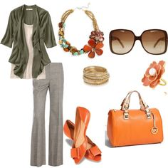 """funky business casual"" by einaphets on Polyvore  I'll try my olive green jacket with the pants, look for orange accessories"