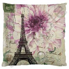 Purple+Floral+Vintage+Paris+Eiffel+Tower+Art+Large+Cushion+Case+(Two+Sided)+