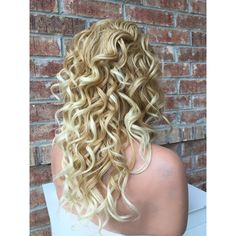 """Helen Blonde Hi Lite Mix Wavy Human Hair Blend Full Wig 18"""" (160 CAD) ❤ liked on Polyvore featuring beauty products, haircare, hair styling tools, hair and curly hair care"""